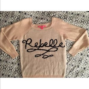 """Pink & Black """"Rebelle"""" Sweater Size Small"""